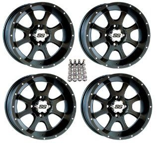 "ITP SS108 ATV Wheels/Rims Black 12"" Honda Rincon Yamaha Rhino Kawasaki Brute Force Suzuki KingQuad (4) Automotive"
