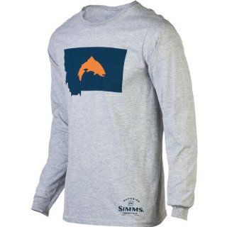Simms Fish Montana T Shirt   Long Sleeve   Men's Ash Grey, L Sports & Outdoors
