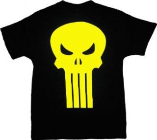 The Punisher Yellow Skull Logo Black T Shirt Tee Clothing
