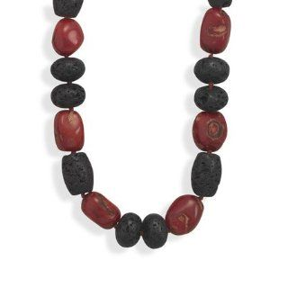 CleverSilver's 19.5 Coral And Lava Rock Necklace CleverSilver Jewelry