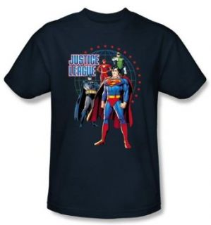 Justice League Kids Superheroes T shirt   Protectors Navy Blue Tee Youth Clothing