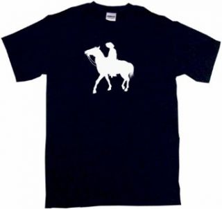 Cowboy Cowhand on Horse Silhouette Logo Men's Tee Shirt Clothing