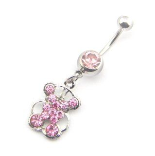 Dasoon 15 G Multi Pink Crystal Cute Bear Animal Dangle Belly Ring Navel Button Bar Stud Barbell Jewelry