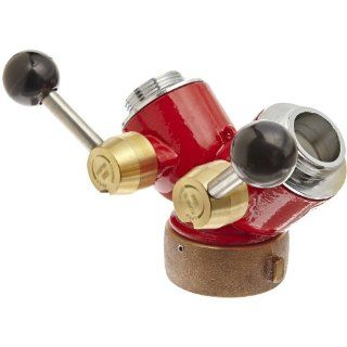 Moon 430 2521521 Cast Brass Fire Hose Hydrant Adapter, Pin Lug, 2 1/2 NST Female Swivel x (2) 1 1/2 NST Male