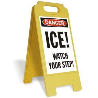 "SmartSign Folding Floor Sign, Legend ""Ice Watch Your Step"", 25"" high x 12"" wide, Black/Red on White Yard Signs"