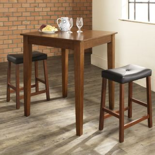 Crosley Three Piece Pub Dining Set with Tapered Leg Table and Saddle