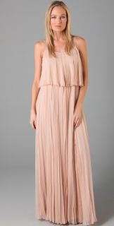 Halston Heritage Pleated Chiffon Long Dress