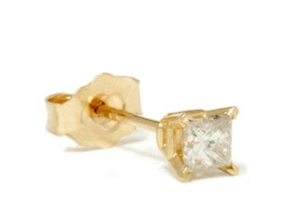 .17CT Princess Cut Diamond Single Stud Carat 14K Karat Yellow Gold Mens Earring