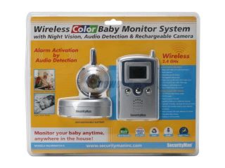 SecurityMan PalmWatch II 2.4GHz Wireless Color Baby Monitor System with Night Vision, Audio Detection, & Camera Rechargeable Battery