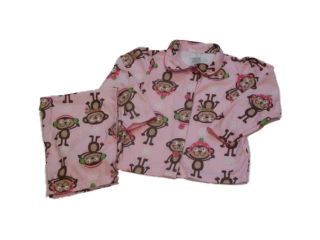 Carters Infant & Toddler Girls Pink Flannel Monkey Pajamas Christmas PJs Jammies