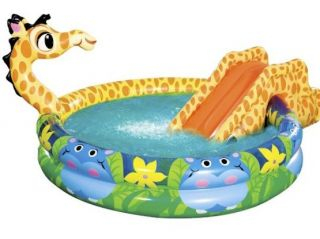 Banzai Spray N Splash Giraffe Pool Inflatable Swimming Water Slide Swim Fun
