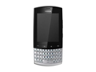 "Nokia Asha 303 Silver 3G Unlocked GSM QWERTY Phone w/ Wi Fi / 3 MP Camera / 2.6"" Touchscreen"