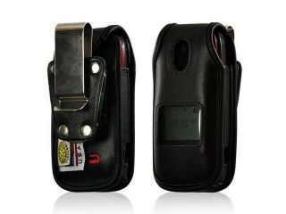 Black Turtleback Heavy Duty Premium Leather Case w/ Steel Swivel Belt Clip for Motorola WX416