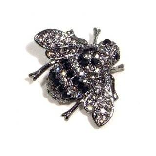 Black Austrian Rhinestone Bumble Bee Antique Silver Plated Brooch Pin